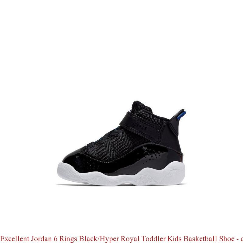 a7a3d5e709e4cb Excellent Jordan 6 Rings Black Hyper Royal Toddler Kids Basketball Shoe ...