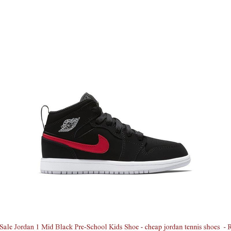 factory price 23aaf 29a52 Sale Jordan 1 Mid Black Pre-School Kids Shoe - cheap jordan tennis shoes -  R0290